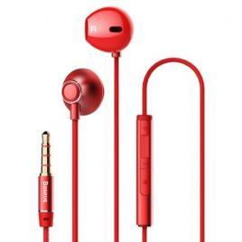 Casti baseus h06 cu mufa jack 3,5mm si microfon rosii