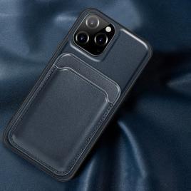Husa telefon iphone 12 / 12 pro din piele ecologica cu suport pentru carduri magnetic albastra