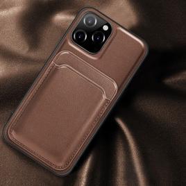 Husa telefon iphone 12 / 12 pro din piele ecologica cu suport pentru carduri magnetic maro