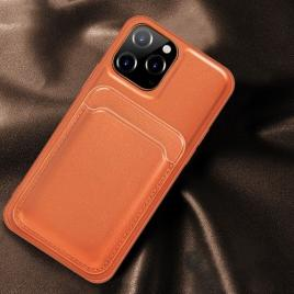 Husa telefon iphone 12 / 12 pro din piele ecologica cu suport pentru carduri magnetic portocalie