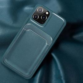 Husa telefon iphone 12 / 12 pro din piele ecologica cu suport pentru carduri magnetic verde