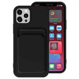 Husa telefon iphone 12 / 12 pro tpu cu suport pentru carduri neagra