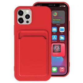Husa telefon iphone 12 / 12 pro tpu cu suport pentru carduri rosie