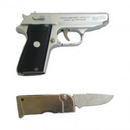 Bricheta anti vant tip pistol,din metal, cu briceag incorporat in incarcator, teaca cu prindere la curea, argintiu