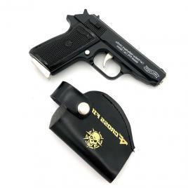 Bricheta anti vant tip pistol,din metal, cu briceag incorporat in incarcator, teaca cu prindere la curea