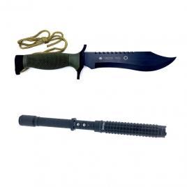 Set  format din  Cutit Supravietuire, Oso Negro, 30 cm, cu Teaca si Baston cu electrosoc pentru autoaparare, negru
