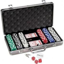 Set pentru poker cu 300 jetoane si geanta tip diplomat inclusa