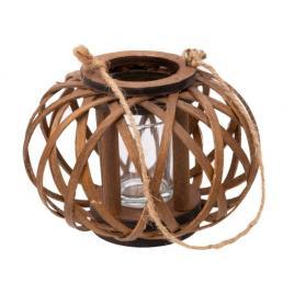 Felinar din bambus , rezistent impletit , cu suport pentru lumanare