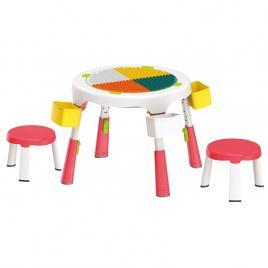 Masa compatibila Lego plianta cu 2 scaune incluse-roz