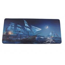 Mousepad, XXL, gaming si birou, 900 x 400 x 3mm, textil cu baza cauciucata, desen Corabii in lupta