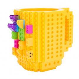 Cana customizabila cu piese lego, Galben, 350 ml, Plastic