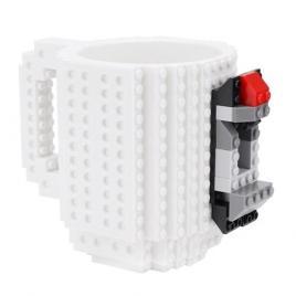Cana design Lego, Alb, 350 ml, Plastic