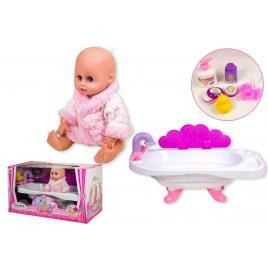 Papusa bebelus de jucarie, cu cadita, si accesorii pentru baie