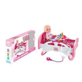 Papusa bebelus de jucarie, cu patut, si accesorii