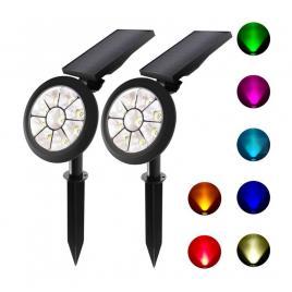 Set 2 x lampa solara led rgb multicolor pentru curte/gradina, 5w