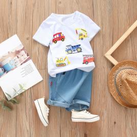 Costum bebelusi cu tricou alb - masinute (marime disponibila: 9-12 luni...