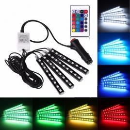 Banda Led RGB lumina ambientala auto multiple culori cu telecomanda 12Led-uribanda