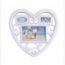Rama foto decorativa cu 3 poze, model inima, 28 x 28 cm, culoare alb