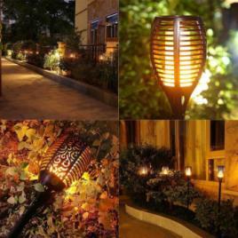 Lampa Solara LED Pentru Gradina cu Efect Real de Flacara