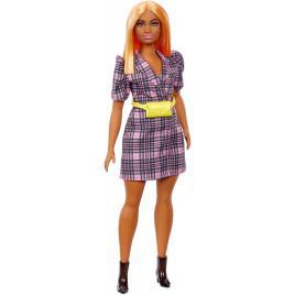 Papusa barbie fashionista cu rochie tip blazer roz in carouri