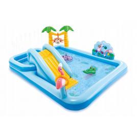 Piscina gonflabila intex pentru copii, jungle cu tobogan si jucarii gonflabile, capacitate 550l