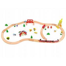 Set joc pista din lemn cu trenulet pe baterie si accesorii pentru fete sau baieti, 53 piese