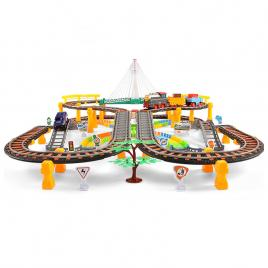 Circuit 2 in 1 XXL,192 Piese cu Trenulet si Masinuta Electrice cu Pista de Mare Viteza pentru Tren si Masini, Pod Iluminat