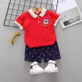 Costum cu tricou rosu - bear (marime disponibila: 18-24 luni)