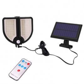 Lampa solara dubla, 90 led, cu panou, telecomanda, senzor de miscare