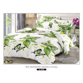 Lenjerie de pat 6 piese realizata din finet de calitate superioara - Green Butterflies