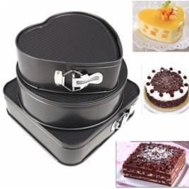 Set 3 forme pentru prajituri si tort, patrata, inima, rotunda