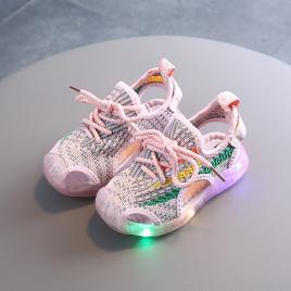 Adidasi decupati roz cu insertii colorate (marime disponibila: marimea 22)